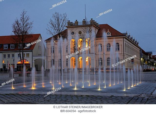 Fountain in front of townhall Neustrelitz, Mecklenburg-Western Pomerania, Germany