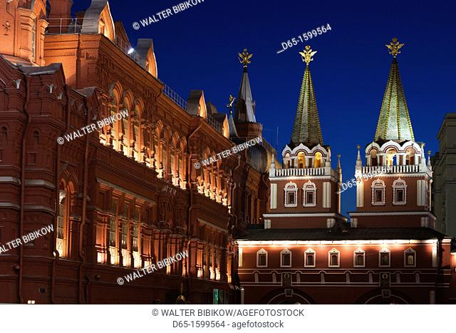 Russia, Moscow Oblast, Moscow, Red Square, State History Museum and Resurrection Gate, evening
