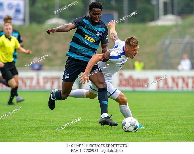 Marvin Pourie (KSC) right, versus left Jordan goalunarigha (Hertha BSC) GES / football / KSC blitz tournament: Karlsruher SC - Hertha BSC Berlin, 13