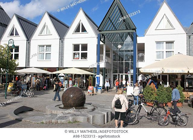 shopping mall at the pier of Heringsdorf, Isle of Usedom, Western Pomerania, Germany, Europe