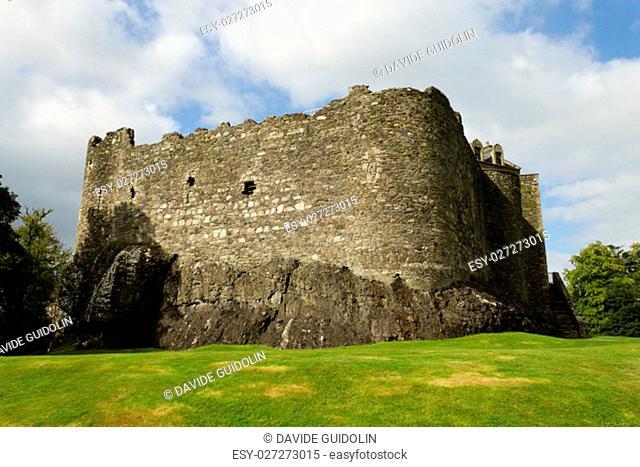 View of Dunstaffnage Castle from Scotland. Ancient medieval castle. Scottish landscape