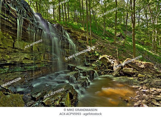 Sixteen Mile Creek trickles over Louth Falls in the Niagara Peninsula Jordan Ontario Canada