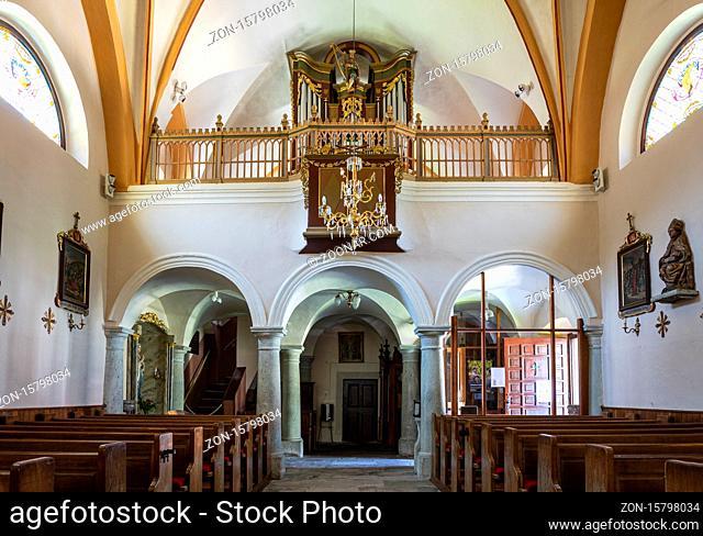 interior view of the church of ?upnijska cerkev Marijinega vnebovzetja in Kranjska Gora, Slovenia
