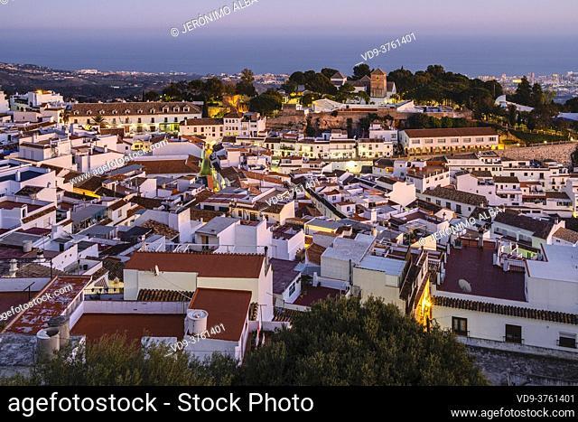 Cityscape. White village of Mijas Pueblo at dusk. Malaga province, Costa del Sol. Andalusia southern Spain, Europe