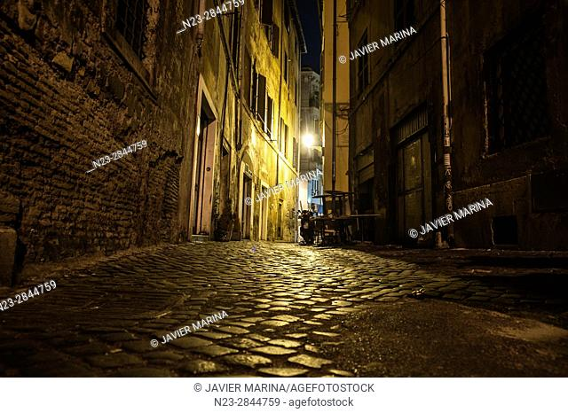 Streets near the Portico di Ottavia, Rome, Italy