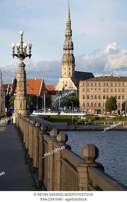 St Peters Lutheran Church and Akmens Bridge; Riga; Latvia