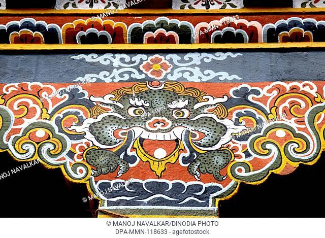 Colorful dragon on pillar of building at Thimpu Capital city of Royal Govt of Bhutan