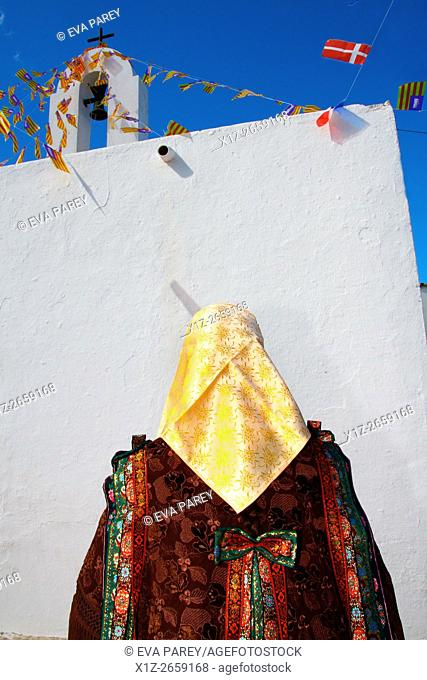 A typical woman in Festes del Pilar, a traditional celebration. Formentera (Balearic Islands)