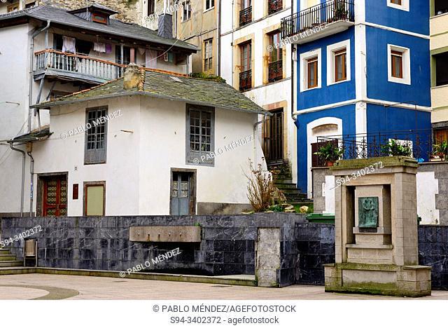 Small square in the street Parroco Camino, Luarca, Asturias, Spain
