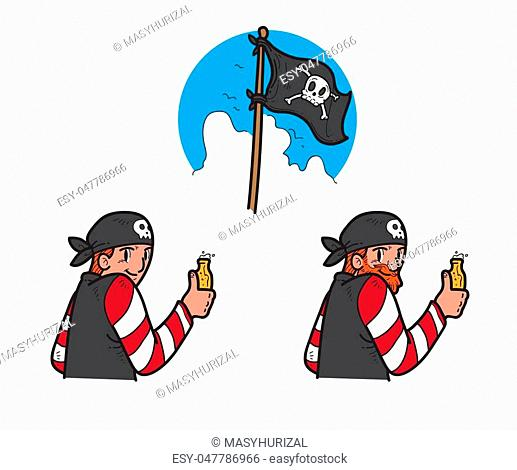 Illustration of pirate drinking