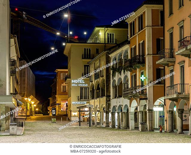 Piazza Grande in the old town of Locarno in the evening