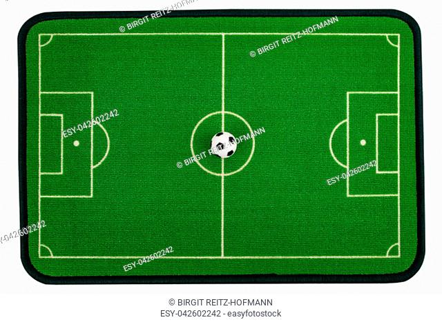 Soccer field from above isolated on white background