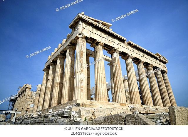 Parthenon on top of the Acropolis listed as World Heritage by UNESCO. Greece, Attica, Athens