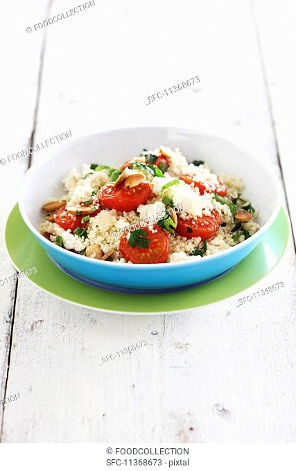 Couscous salad with tomatoes and feta cheese