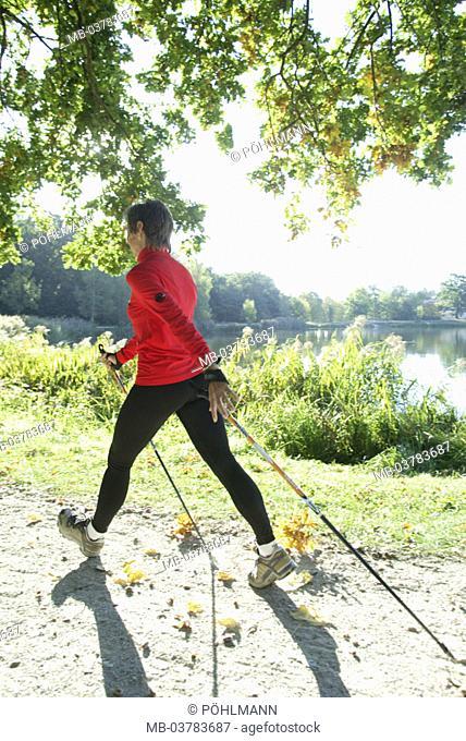 Forest path, woman, Nordic Walking, view from behind, summer,  Series, sportswoman, sportswear, athletically, movement sport sport, trend sport, run technology