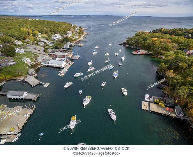 Aerial view of boats on the water in New Harbor, Maine