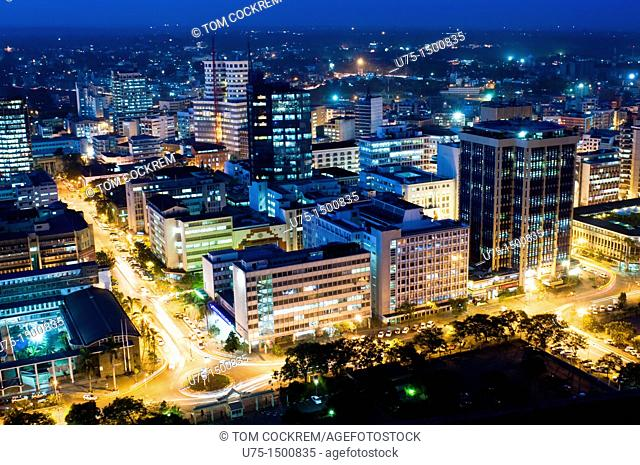 Aerial view of city at night looking northeast nairobi kenya