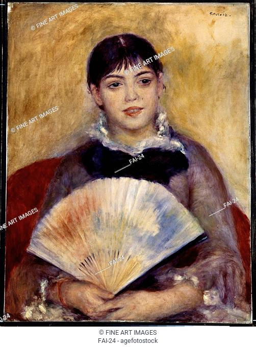 Girl with a Fan. Renoir, Pierre Auguste (1841-1919). Oil on canvas. Impressionism. 1881. State Hermitage, St. Petersburg. 66x50. Painting