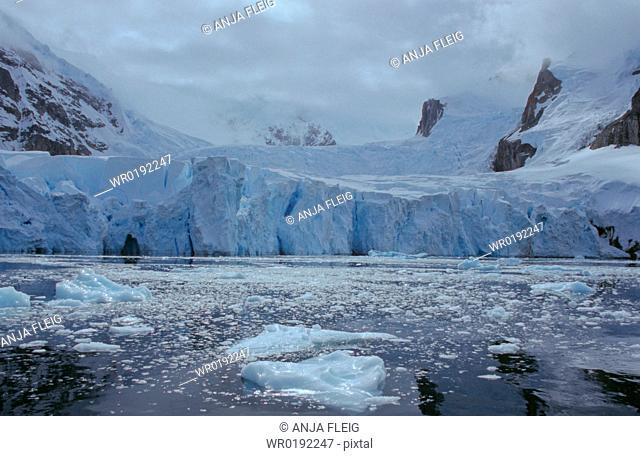 Glacier front and brash ice in Antarctica Danco Island, Antarctic Peninsula