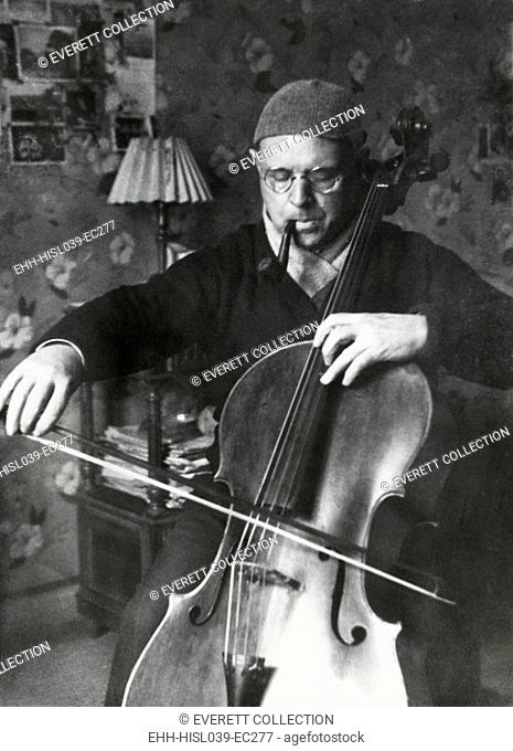 Pablo Casals, the great cello player in his home in Barcelona. Ca. 1930-38. - (BSLOC-2014-17-198)