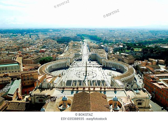 ROME, ITALY - MAY 31: Aerial view of Rome city from St Peter Basilica roof to Peter's square on May 31, 2014, Rome, Italy