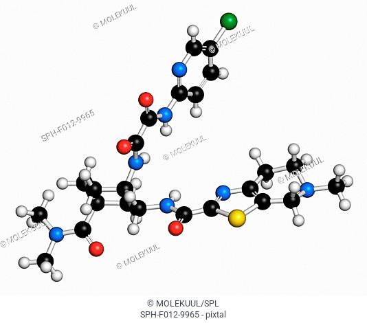 Edoxaban anticoagulant drug molecule (direct FXa inhibitor). Atoms are represented as spheres with conventional colour coding: hydrogen (white), carbon (black)