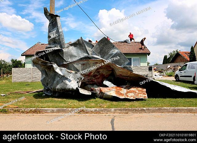 A tornado hit village Moravska Nova Ves and several other villages in the Breclav district, South Moravia, Czech Republic, on Thursday, June 24, 2021