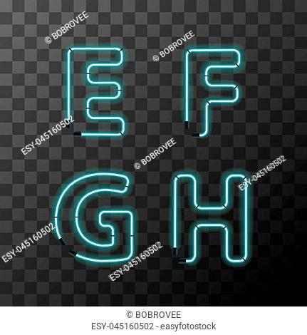 Bright blue realistic neon letters, vintage E F G H latin letters on transparent background