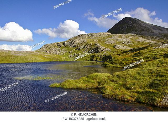 mountain lake in the Grey Corries between Stob Ban and Stob Choire Claugigh, United Kingdom, Scotland, Scottish Highlands
