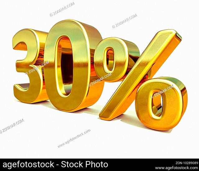 3d render: Gold 30 Percent Off Discount Sign, Sale Banner Template, Special Offer 30% Off Discount Tag, thirty Percentages Up Sticker, Gold Sale Symbol