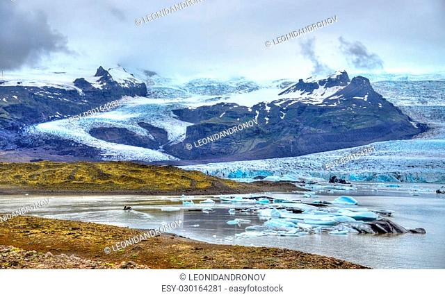 View of Fjallsarlon Glacier Lagoon in South Iceland
