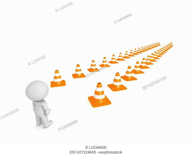 A 3D character and a path marked by orange road cones. Isolated on white background