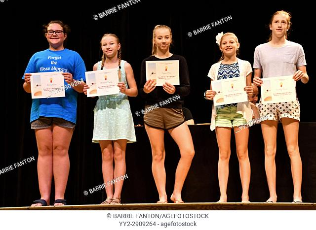 7th Grade Girls Receiving Achievement Awards, Wellsville, New York, USA