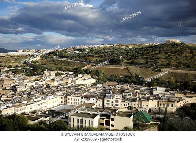 North Africa, Morocco, City of Fez (Fes), Medina, Bab Ziat, view on the medina from Faraj Palace (Palais Faraj)