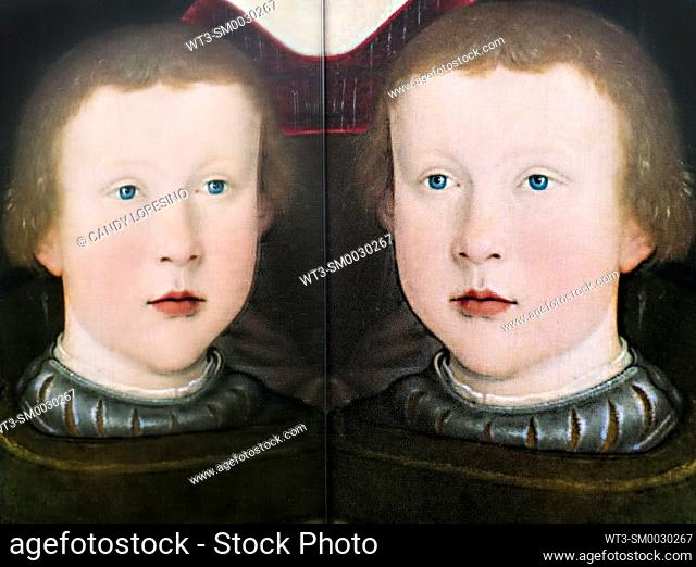 Children in Art, portrait of a son of Conrad Rehlinger painted by Bernhard Strigel in the year 1517, reflected in a mirror