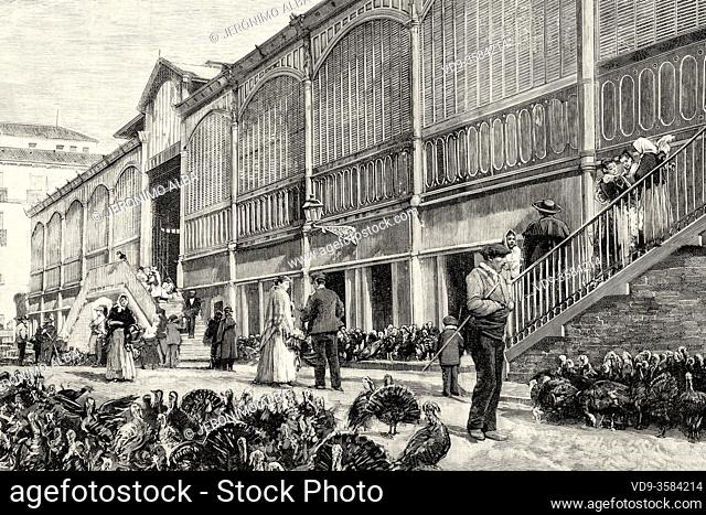 Sale of turkeys to be slaughtered at christmas. Old Mostenses Market at the end of the 19th century, food market in the city of Madrid, Spain