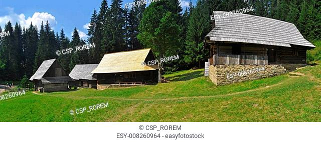 wooden houses panorama