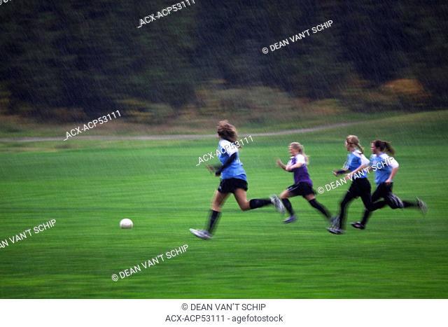Girl's Soccer, Rain, Team Sports, Physical Activity, Health, Gibson's, Sunshine Coast, B.C., Canada