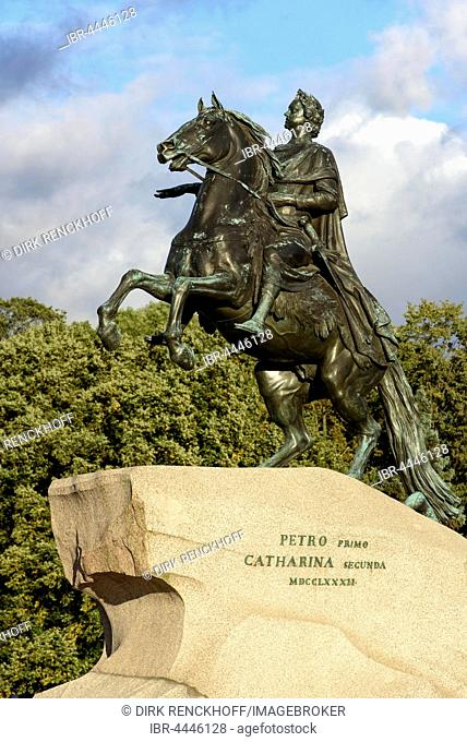 The Bronze Horseman, equestrian statue of Peter the Great, Senate Square, St. Petersburg, Russia
