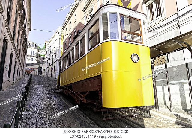 Ancient and Old Lisbon tram, detail of an ancient means of transportation around the city, monument of Lisbon