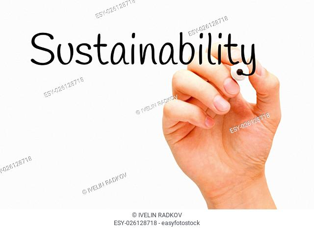 Hand writing Sustainability with black marker on transparent wipe board