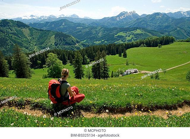 female hiker with view on the Gschwendtalm, Austria, Upper Austria, Kalkalpen National Park