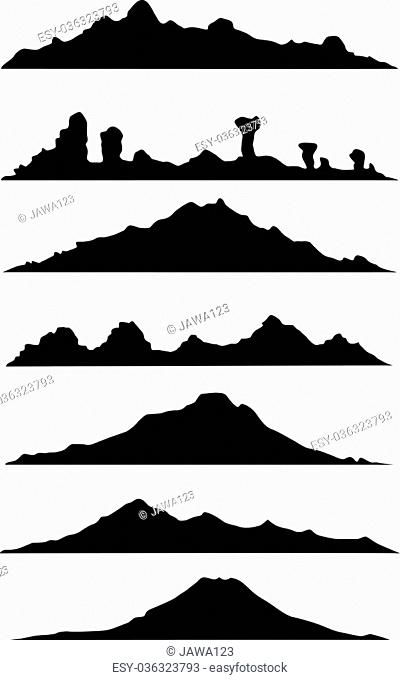 vector illustration of collection of mountain silhouette