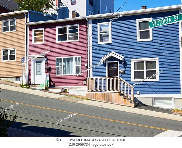 Colourful typical houses, St John's, Avalon Peninsula, Newfoundland, Canada