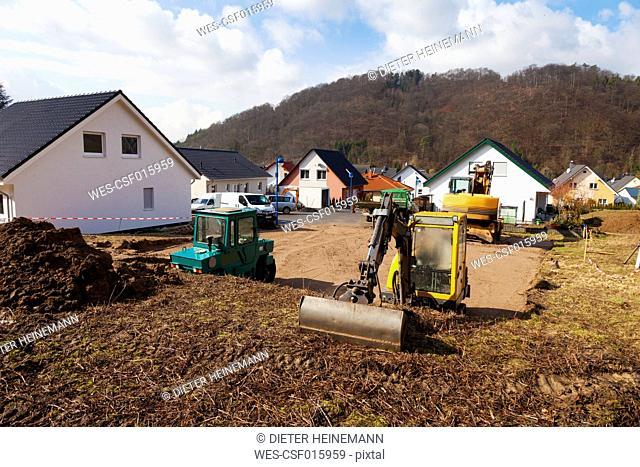 Europe, Germany, Rhineland Palatinate, Preparing ground for foundation of house building