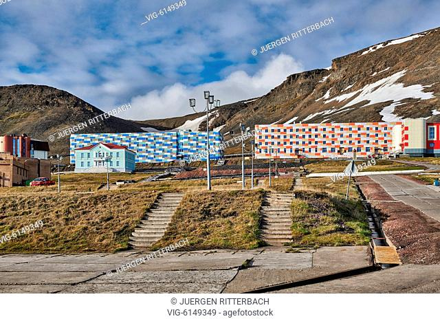 russian mining town Barentsburg, Svalbard or Spitsbergen, Europe - Barentsburg, Svalbard, 26/06/2018