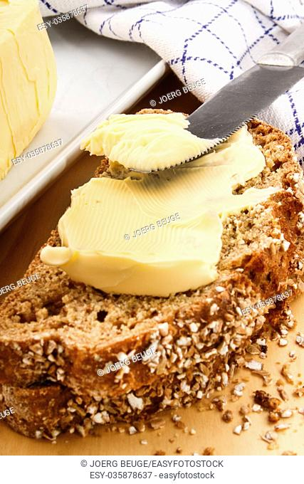slice of home baked bread with irish, salted butter