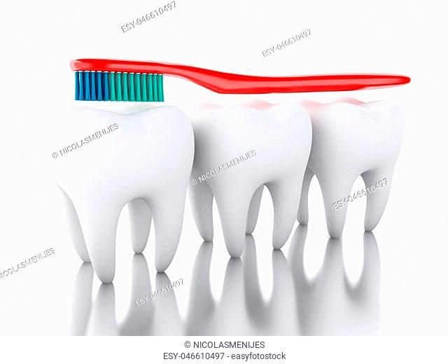 3D Illustration. Toothbrush brushing a tooth. Dental hygiene and healthy concept. Isolated white background