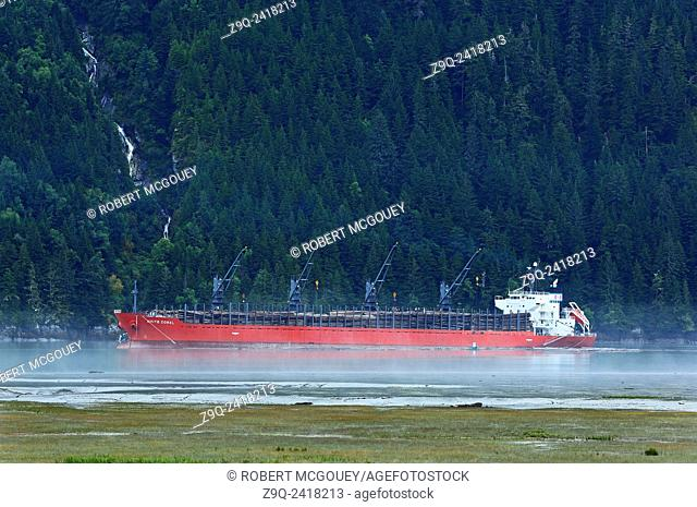 A horizontal image of an ocean going ship loading raw softwood logs from the waters of the Portland Cannel near the town of Stewart British Columbia, Canada