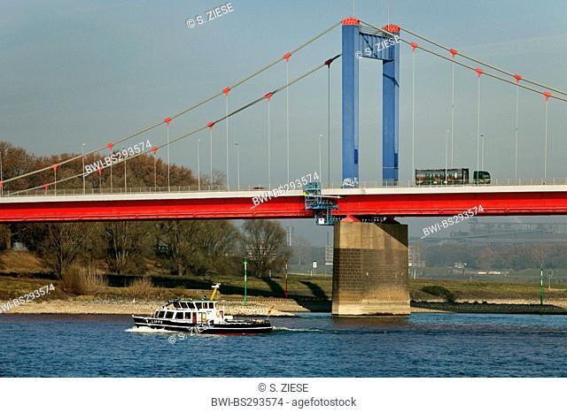 Friedrich Ebert bridge crossing Rhine, Germany, North Rhine-Westphalia, Ruhr Area, Duisburg